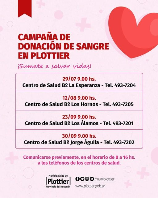 Campaña donacion sangre en Plottier